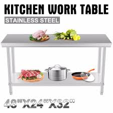 Stainless Steel Commercial Kitchen Work Food Prep Table 24x48 In
