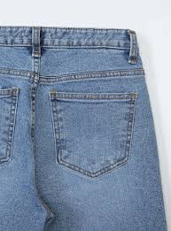 Whiskered Cropped Raw Hem Jeans