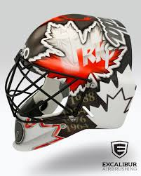 rio goalie mask designed and airbrushed by ian johnson for team canada field hockey goalie dave carter for the 2016 summer olympics