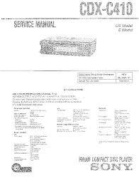 sony cdx c410 sm service manual schematics eeprom repair sony cdx c410 sm service manual 1st page