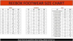 Reebok Size Chart Reebok Shoe Size Chart