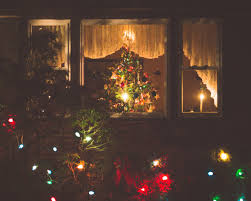 Christmas Tree In Living Room View Through Window Stock Photo Christmas Tree In Window