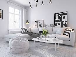 INTERIOR : 4 Scandinavian Living Room Ideas White Ambient Grey Sofa Curtain  Coffee Tables Cushion Floor Lamps Sideboard Wall Art Soft Carpet Chandelier  ...
