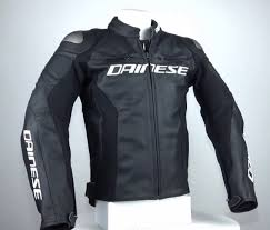 a photograph showing the full chassis of the dainese racing 3 leather jacket with its air vents and armor protection that make this one of the best