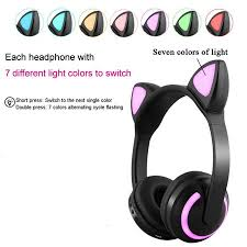 <b>Bluetooth</b> Stereo <b>Cat Ear Headphones Flashing</b> Glowing <b>Cat Ear</b> ...