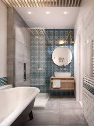 grey + white bathroom in a long narrow space, contemporary version of  clawfoot tub,