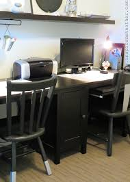 Tremendous Dark Wood Polished Computer Office Double Desk With Armless Wood  Chairs In White Room Wall Painted Color Schemes