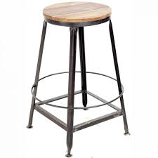 furniture metal backless bar stool with round wood seat
