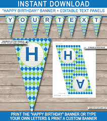 custom happy birthday banner golf party banner template happy birthday banner editable bunting