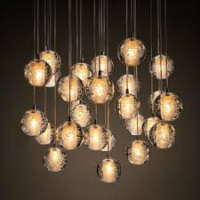 modern bubble crystal chandeliers lighting g4 led bulb light raindrop chandelier