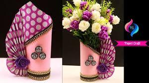 Paper Flower Bouquet In Vase How To Make A Paper Flower Vase Diy Simple Paper Craft Paper Craft Flower Vase