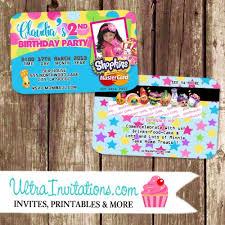 Credit Card Party Invitations Aqua Party Personalized Shopkins Birthday Credit Card Invitations