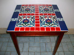red entry table. Red And Blue Tile On Small Wood Table. This Would Make A Great Entry Completed May 2013. Table H