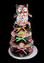 Baby Shower Cakes Atlanta Girl Boy Gourmet Custom  Peche PetiteOwl Baby Shower Cakes For A Girl