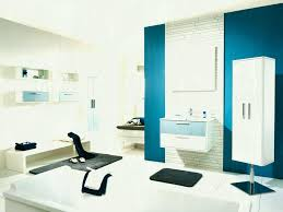 add blue interior paint colors inside white bathroom with floating vanity and bathtub unique color picking