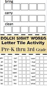 Dolch Sight Words Activity Printable Worksheets