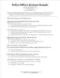 Police Officer Resume Samples Free Police Officer Resume Sample Templates at 59