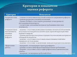 Презентация на тему Методические подходы к оценке  5 КритерииПоказатели Раскрытие темы реферата