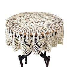 colorbird vintage handmade crochet tablecloth decorative round table cover layer for kitchen dinning pub bedside tabletop