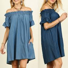 Us 3 95 52 Off Plus Size Womens Off The Shoulder Bardot Denim Look Shirt Dress Tops 5xl In Dresses From Womens Clothing On Aliexpress