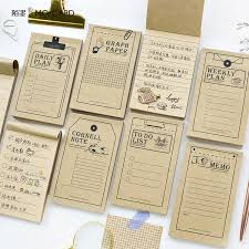 50pages Vintage Kraft Paper Daily Planner Grid List Notepad