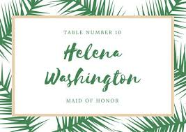 Green Card Template Green And Beige Tropical Place Card Templates By Canva