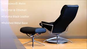 Stressless Metro Recliner and Ottoman in Paloma Black Leather and