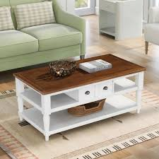 white rectangle wooden coffee table