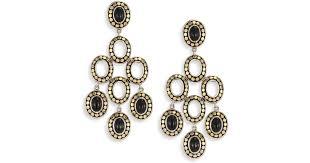 lyst john hardy dot black onyx 18k yellow gold chandelier earrings in black