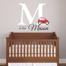 nursery boys name and initial car personalized name wall decal 19 w by 18