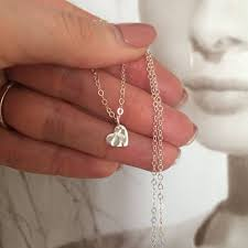 tiny sterling silver hammered heart necklace small heart necklace simple silver heart choker dainty silver pendant necklace jewelry gift
