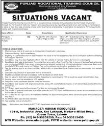 jobs in punjab vocational training council lahore