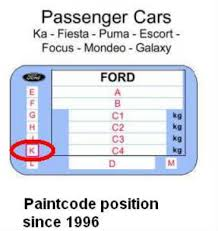 Cannot Find The Paint Color On Ford Focus 2003 Motor