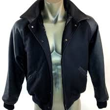 details about dehen 1920 club jacket varsity wool w leather sleeves coat leather collar xl