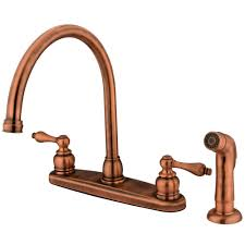 kingston brass kb726alsp vintage 8 inch center two handle goose neck kitchen faucet with side sprayer
