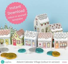 christmas house template advent calendar village printable colour in templates makes 24 mini christmas house boxes digital instant download b5001