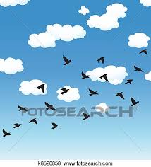 birds flying in the sky drawing. Clip Art Vector Flying Birds And Clouds In The Sky Fotosearch Search Clipart On Drawing