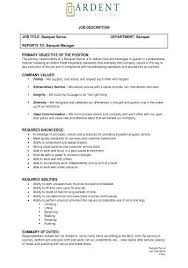 Server Job Description For Resume Fascinating Server Job Description Resume Awesome Banquet Job Description Server