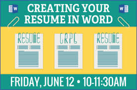 Creating Your Resume In Word Library Events Calendar Chicago