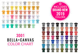 Bella Canvas 3001 Mockup Color Chart