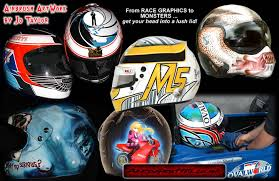 custom painted airbrushed designs on motorcycle car race and sports helmets by uk airbrush artist