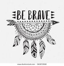 Boho template with inspirational quote lettering - be brave. Vector ethnic  print design with dreamcatcher