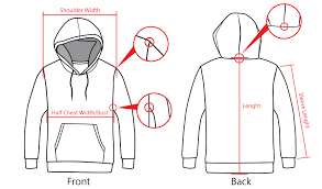 Pullover Size Chart Size Chart Of Pullover Hoodies Each Design And Uniform