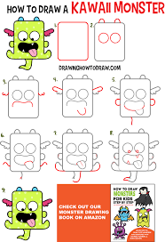 monster creature drawings easy. Learn How To Draw Cute Kawaii Monster With Easy Step By Drawing Tutorial For Intended Creature Drawings