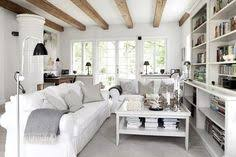 decoration white wall and ceiling color rustic living rooms with white sofa grey pillows white wood table on soft grey floor also white wood bookcase at