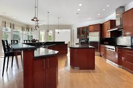cherry kitchen cabinets black granite. cherry wood kitchen with black granite countertops and light flooring cabinets