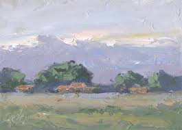 5x7 inch original palette knife oil painting by tom brown this is another small treasure done at the edge of a farm during a recent painting