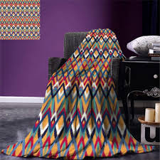 Native Design Blankets Us 19 45 45 Off Ikat Throw Blanket Back Strapped Native Ceremonial Type Ikat Patterns Group Of Irregular Lines Art Warm Microfiber In Blankets From
