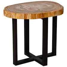excellent small side table with petrified wood top and metal legs metals within metal and wood side table ordinary