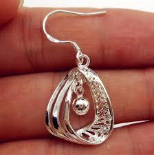 925 sterling silver plated whole women jewelry bell hoop dangle earring